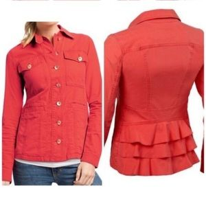 EUC CAbi salmon Taylor Jacket with ruffles in back